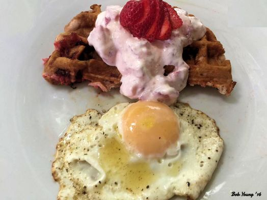 Strrawberry Waffles with Strawberry Sour Cream Topping Sunnyside Up Egg