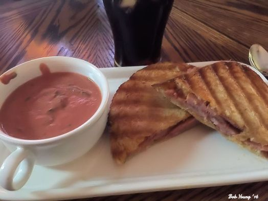 Grilled Spam and Cheese on Acme Sourdough Toast Housemade Cream of Tomato Soup with Basil