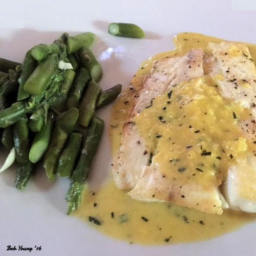 Steamed Asparagus Halibut with Tarragon Cream Sauce