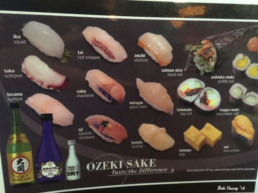 Types of seafood used in sushi and sashimi.