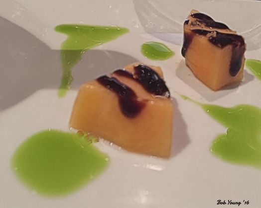 Cantaloupe with Raspberry Balsamic Reduction and Lime Oil