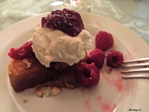 Oh yes. Dessert - Pound Cake with Fresh Raspberries and Fresh Whipped Cream.