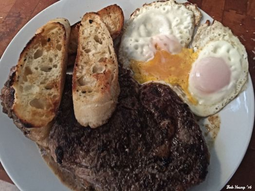 Desert Mopuntain Ribeye Toasted Bruchetta with Rubbed Garlic Sunnyside Up Eggs