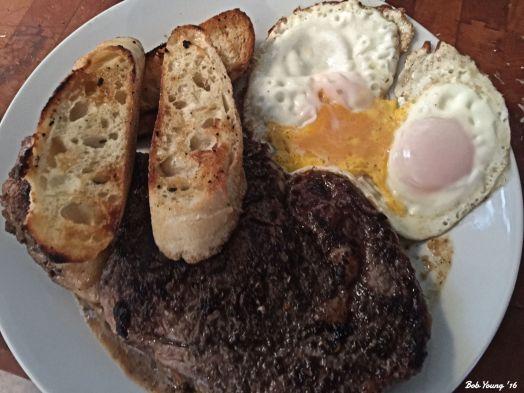 Desert Mopuntain Ribeye Toasted Bruchetta with Rubbed Garlic Sunnyside Up Eggs