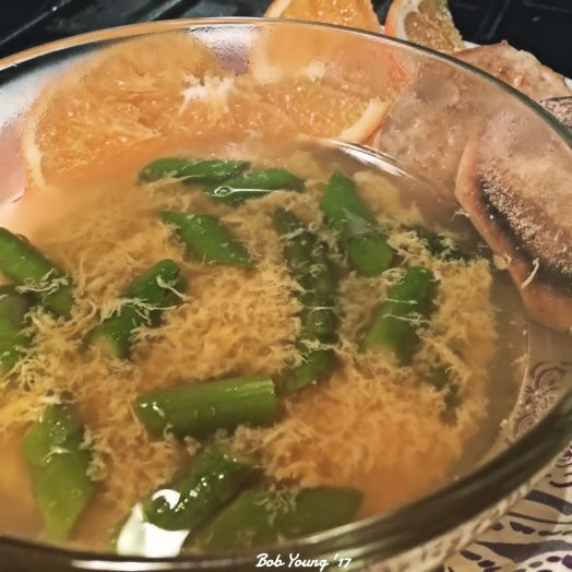 Egg Thread Soup with asparagus