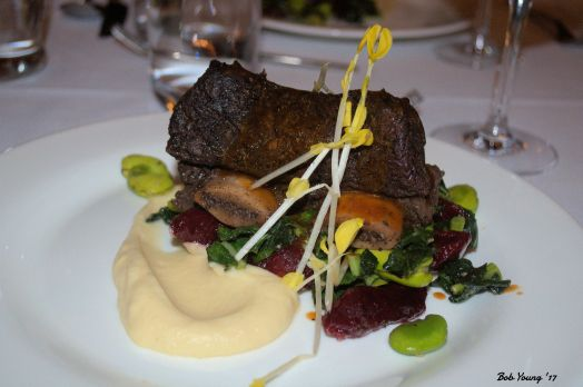 Main Course - Coffee bison short rib, beet gnocchi, celery root, fava, winter vgreens, dmi and micros