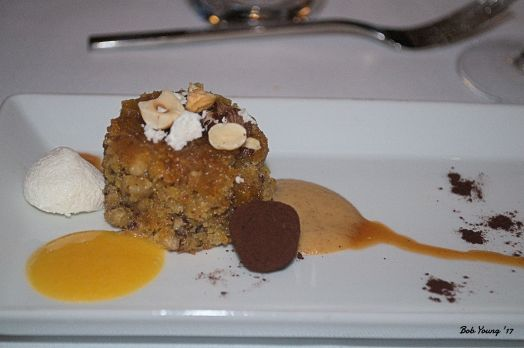 Dessert -Orange hazelnut mignardises, passionfruit puree, goat caramel, meringue, chocolate and citrus oil