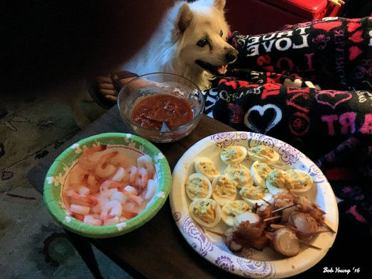 New Years Eve Shrimp Bacon Wrapped Scallops Rice and Cheese Balls Deviled Eggs Variety of Wines