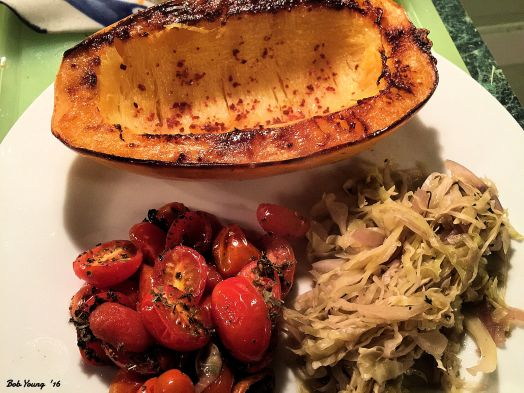 2017 Day Two Baked Spaghetti Squash Steamed Cabbage and Onion Roasted Herbed Tomatoes