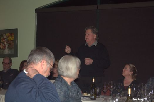 Gary Cunningham, owner of 3 Horse Ranch Vineyards, talks to the crowd.