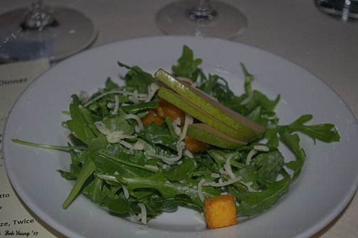 Arugula Leaf Salad tossed with White Pear Vinaigrette, Fresh Pear, Polenta Croutons and Truffle Cheddar Cheese