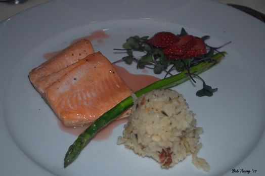 Baked Idaho Trout with a Strawberry Beurre Rouge, Roasted Almond Rice Pilaf and Asparagus