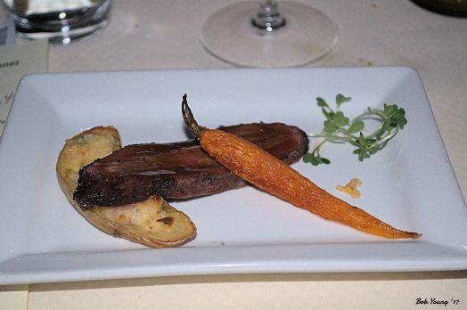 Pepper Crusted Smoked Flat Iron Steak, Bourbon Glaze, Twice Baked Fingerling Potato and Baby Carrot