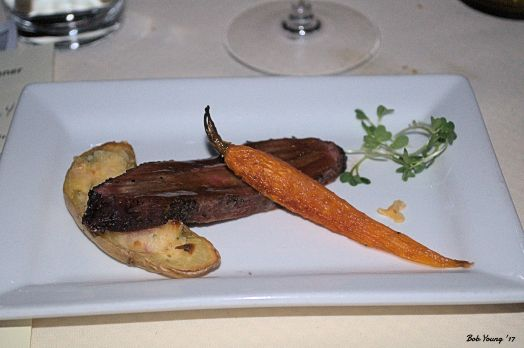 Pepper Crusted Smoked Flat Iron Steak, Bourbon Glaze, Twice Baked Fingerling Potato and Baby Carrot