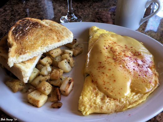Lobster Omelet. It's the sauce that cuts this dish down.