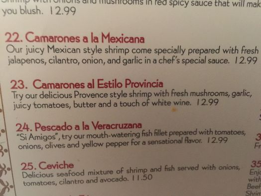 Alejandro's Mexican Restaurant menu. #23 is superb!!