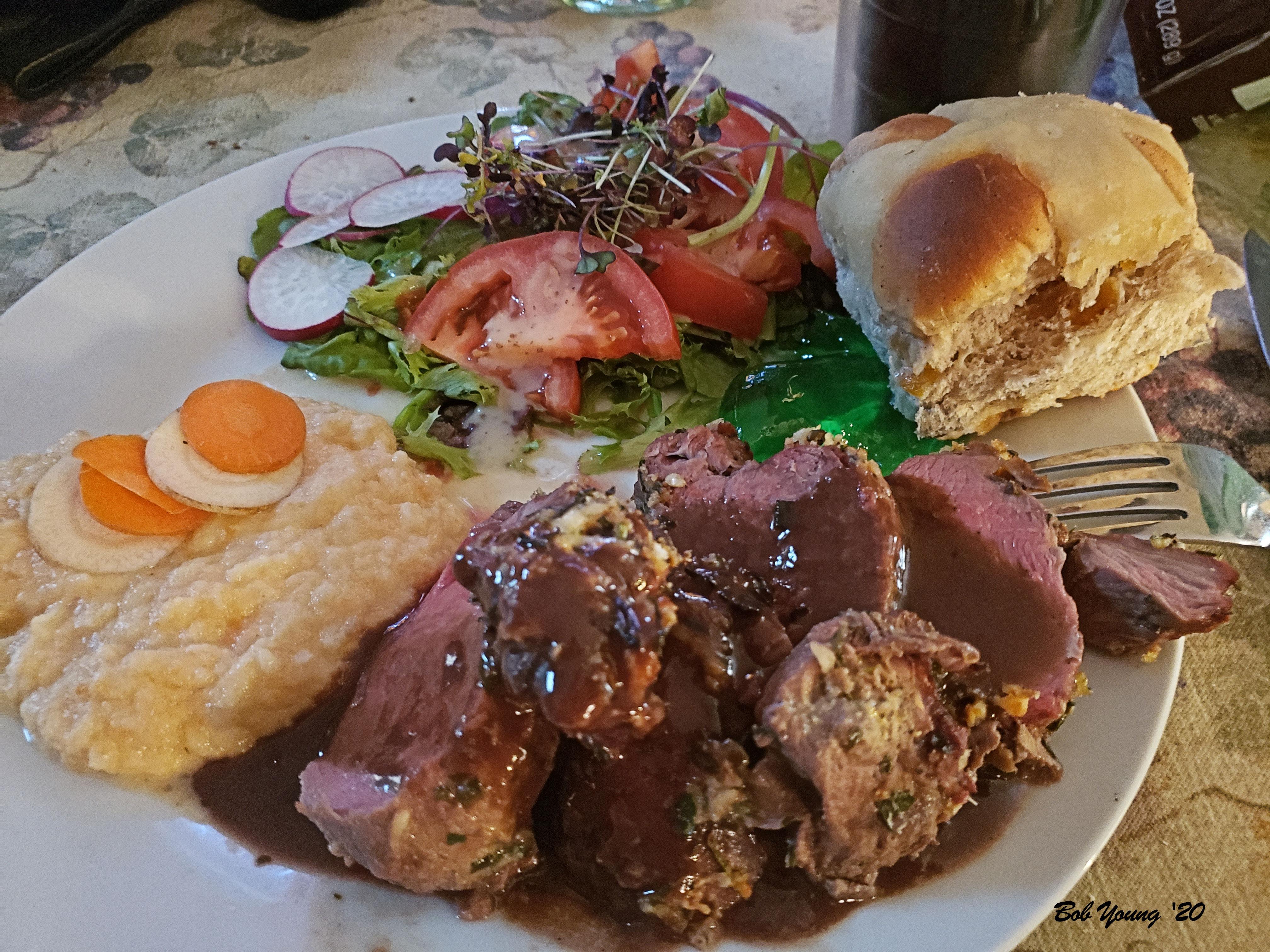 12April2020_1c_Captains-Shack-Easter_Lamb-Pureed-TurnipandCarrot-Green-Salad_Acme-HotCrossBun